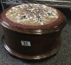 """19 th century beaded topped foot stool 13"""" dia 5"""" tall with bead work top"""