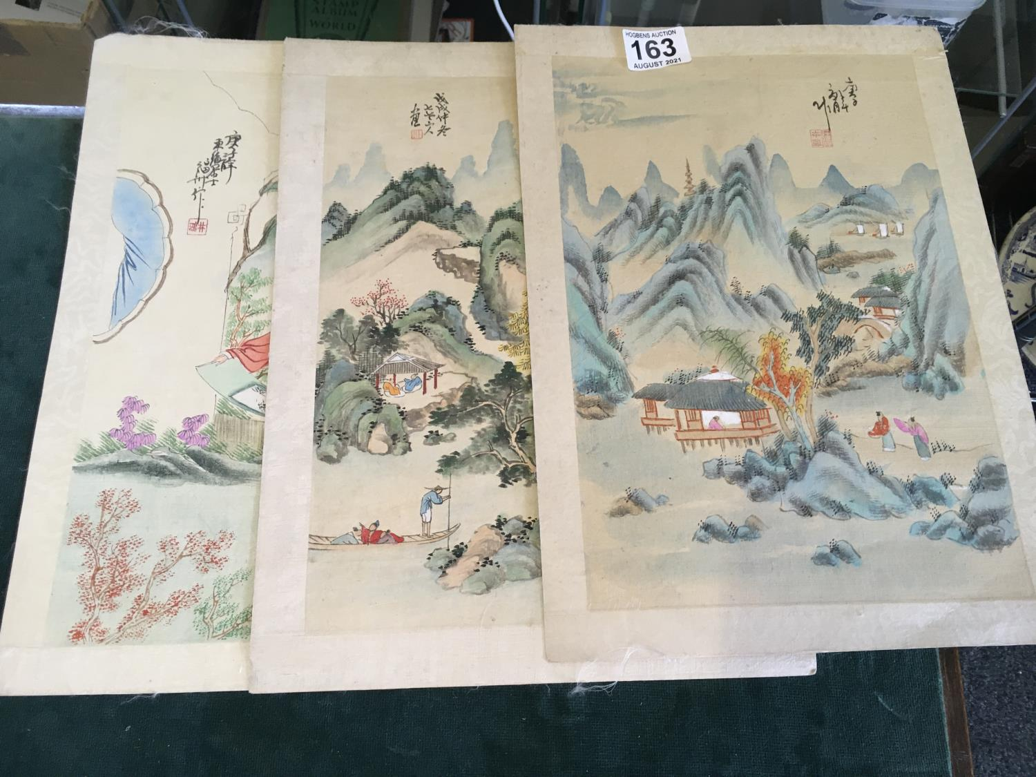 """3 x Chinese paintings on silk, 8"""" x 12"""" landscape and figures"""