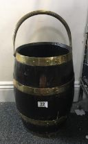 19th century brass and copper bound Coppered ale Barrel converted to bucket , with carrying handle