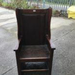 """Interesting 18th century Monks Hall chair, 3' tall 24"""" wide (see photo for construction details)"""