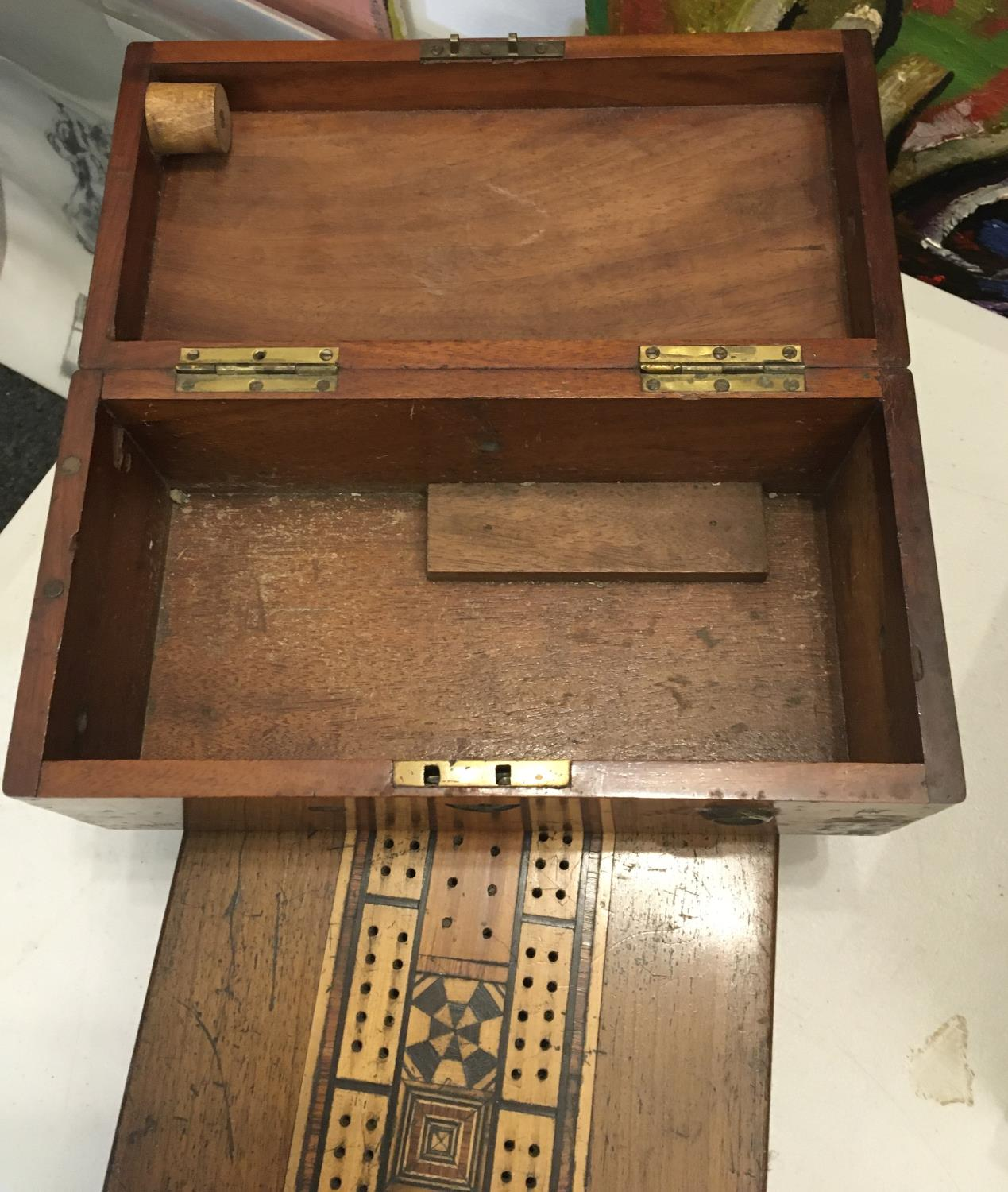 """Mahogany 19c games box with cribbage board set to the top, a 19c small crass bound deed box 6"""" x - Image 2 of 2"""