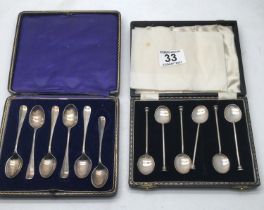 2 x boxed sets of silver tea spoons 121 grams