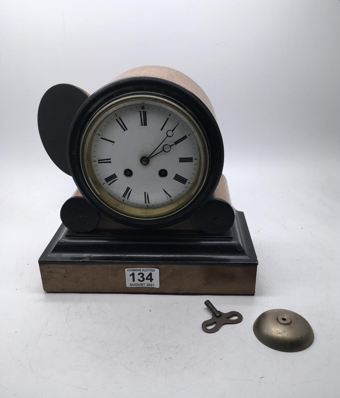 """19c drum mantle clock ebonised and mahogany, 9.5"""" tall 8 day movement striking on a bell appears"""