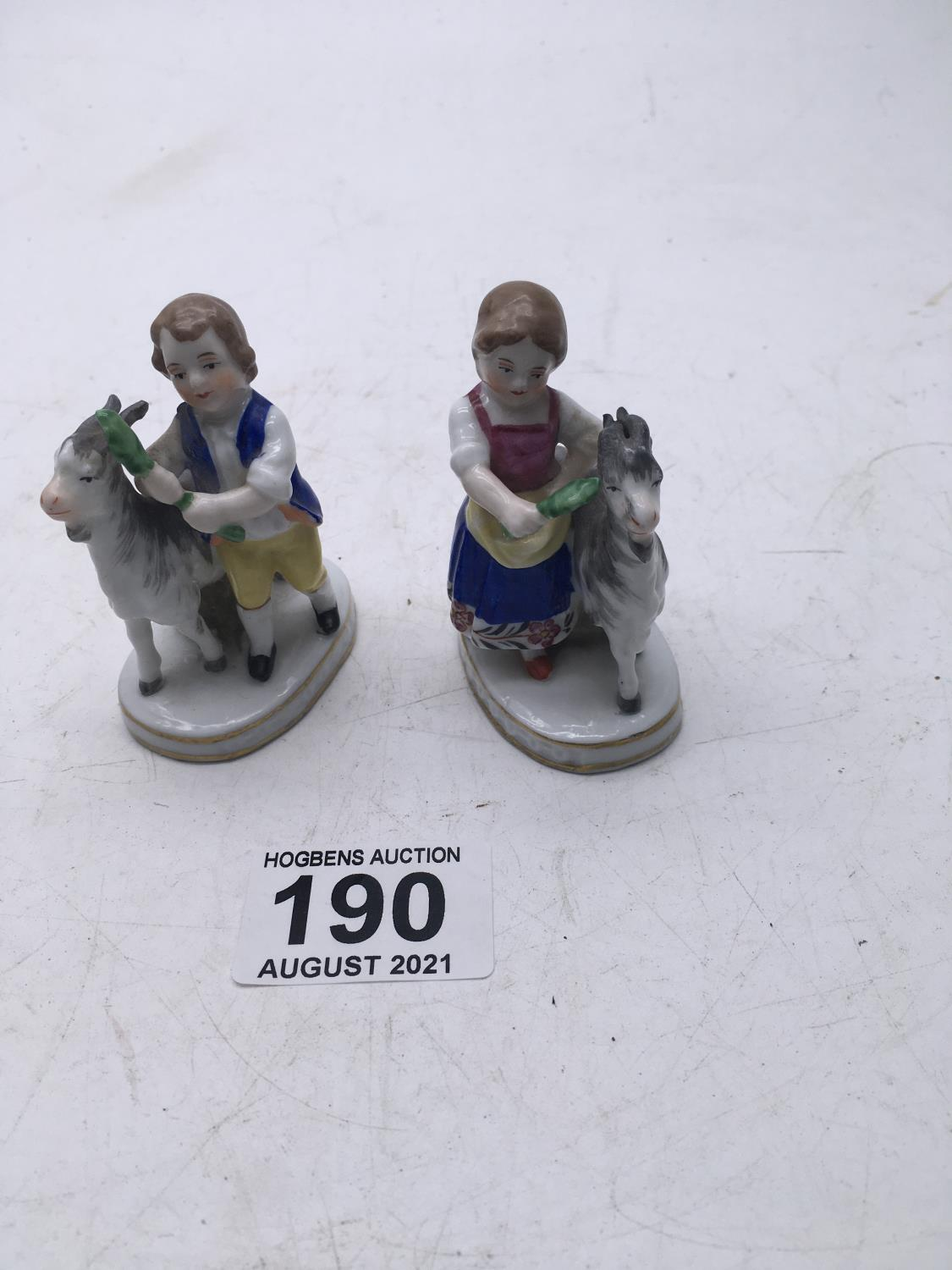 """Small pair of Goat Herder figurines, both with gold Anchor mark 3"""" tall girl and boy"""