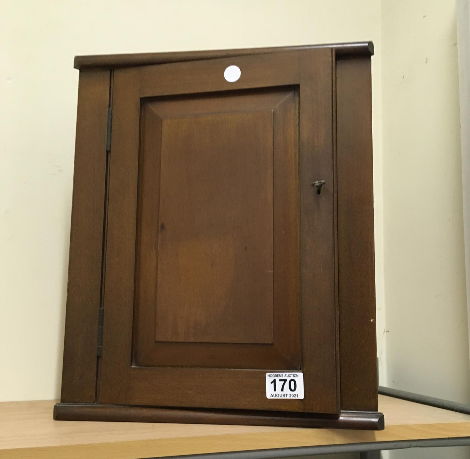 """Edwardian period medicine cupboard, wall hanging with a single shelf enclosed 16"""" tall 14"""" wide"""