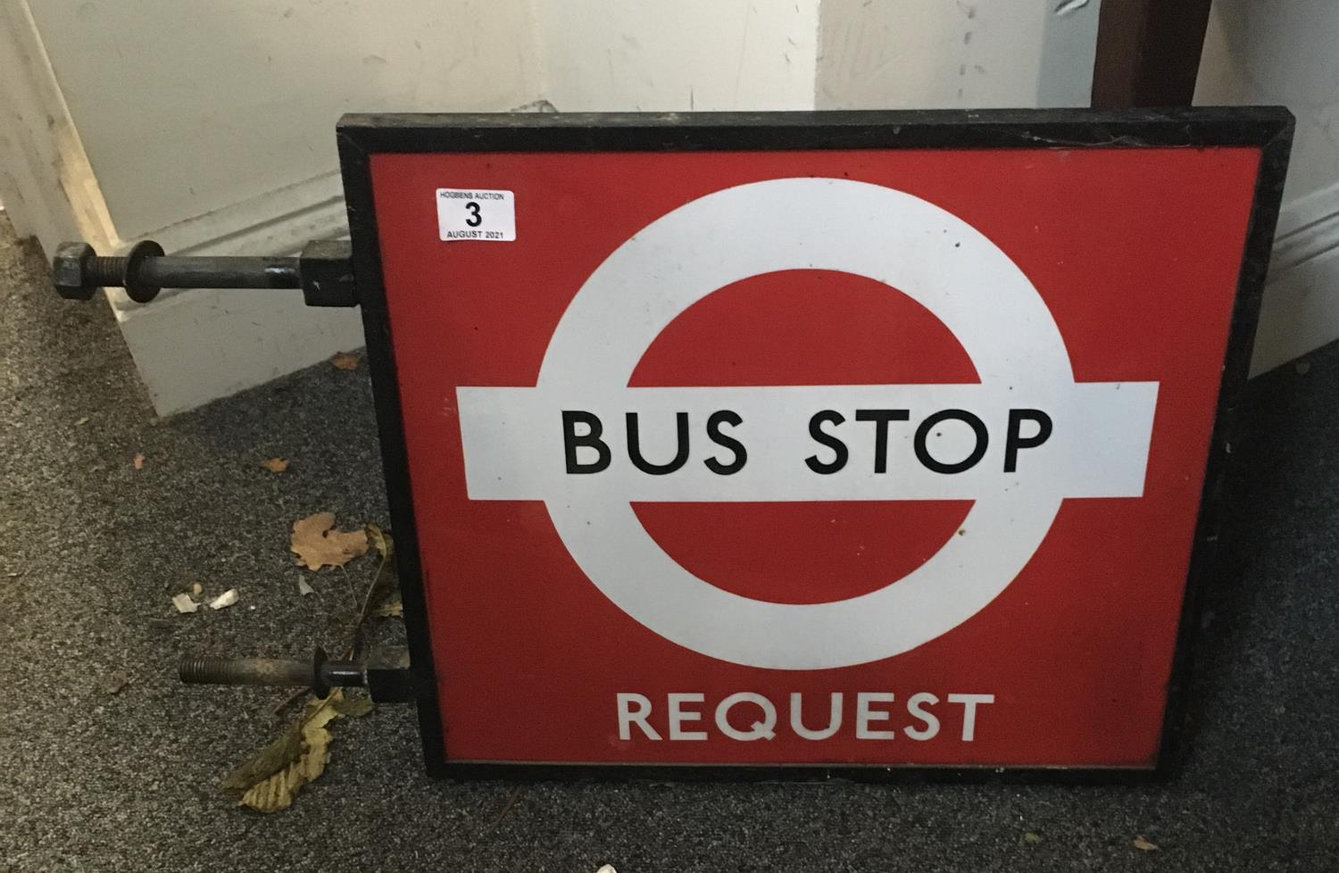 """Vintage Bus Stop request sign 16"""" x 18"""" in cast iron surround - Image 2 of 4"""