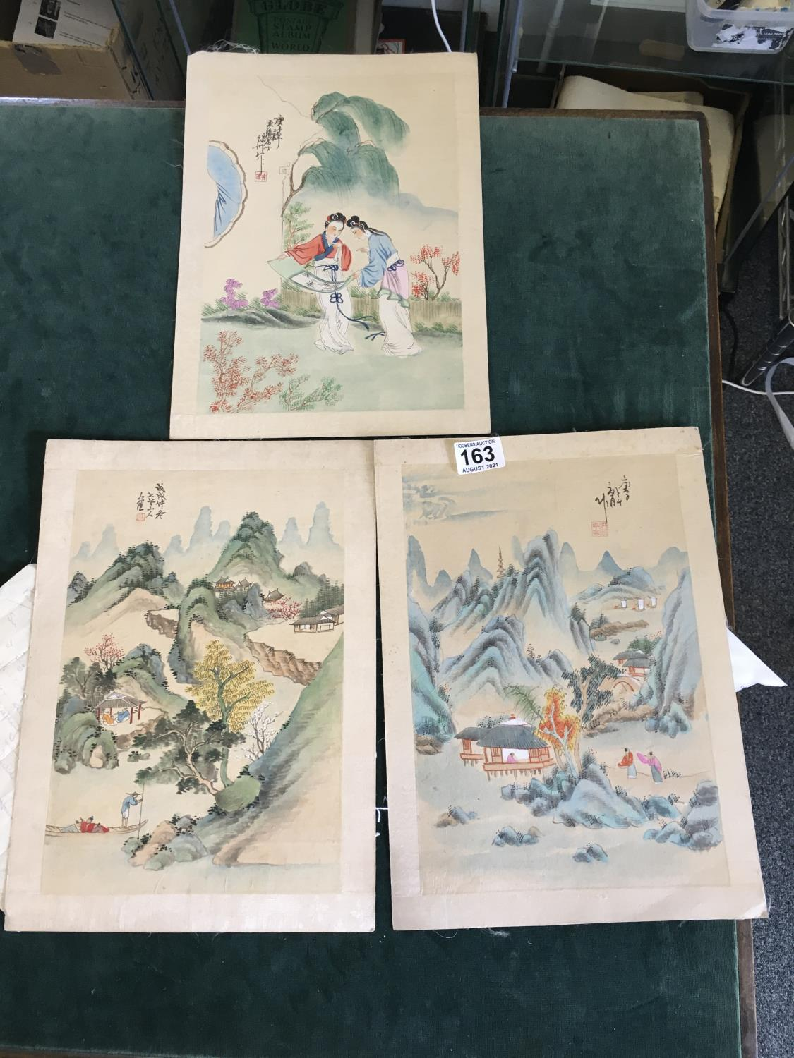 """3 x Chinese paintings on silk, 8"""" x 12"""" landscape and figures - Image 2 of 2"""