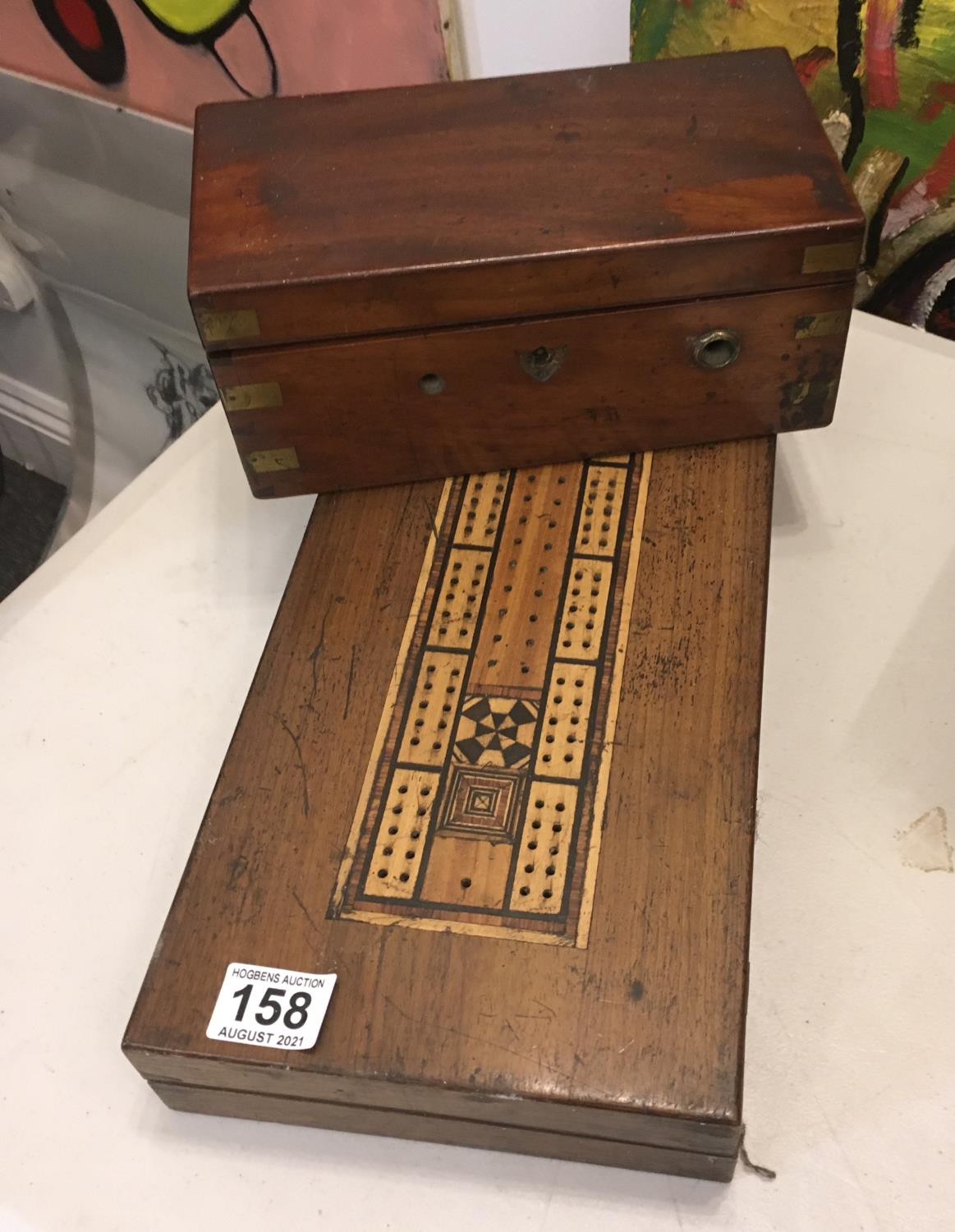 """Mahogany 19c games box with cribbage board set to the top, a 19c small crass bound deed box 6"""" x"""