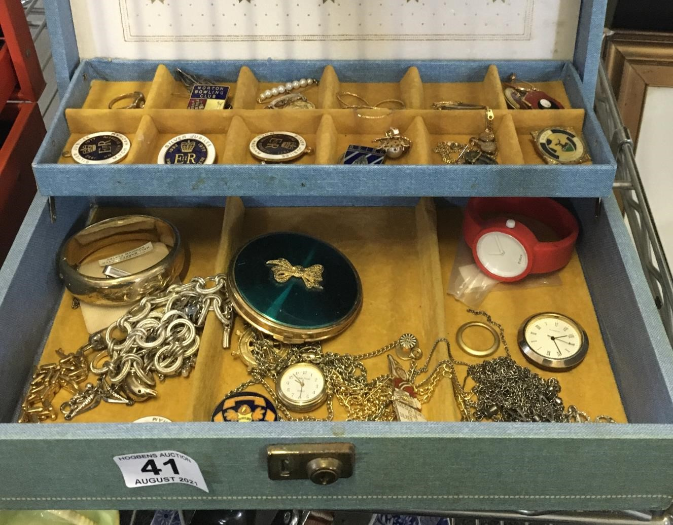 Jewellery box and contents,