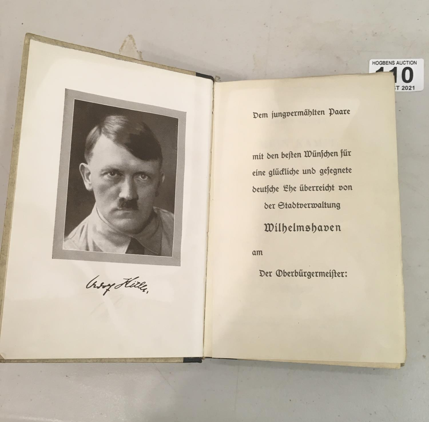 Book by Adolph Hitler, hard backed copy of Mien Kampf, published 1943,