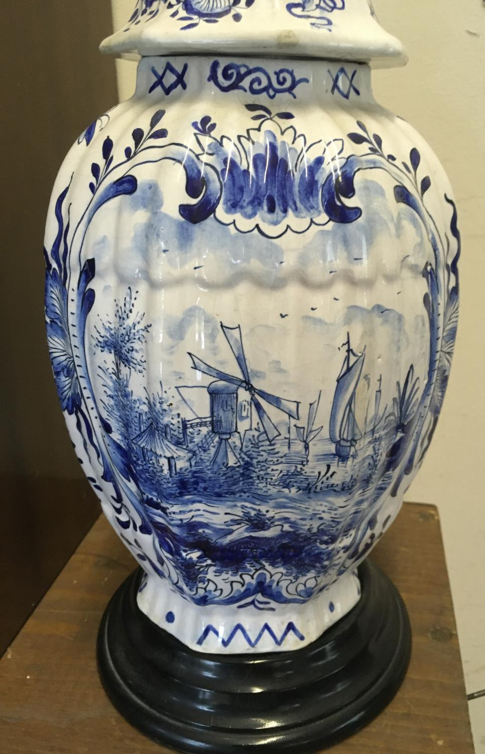 """Large blue and white Delft vase and lid, 14"""" tall marked to the base BN and No:665-27 hand painted - Image 4 of 6"""