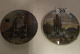 2 x old Pratt ware pot lids,