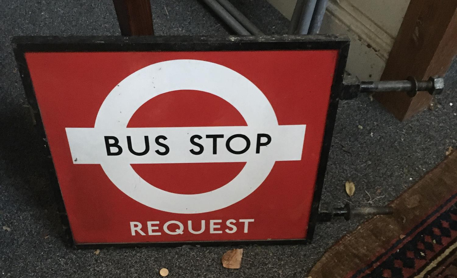 """Vintage Bus Stop request sign 16"""" x 18"""" in cast iron surround - Image 3 of 4"""