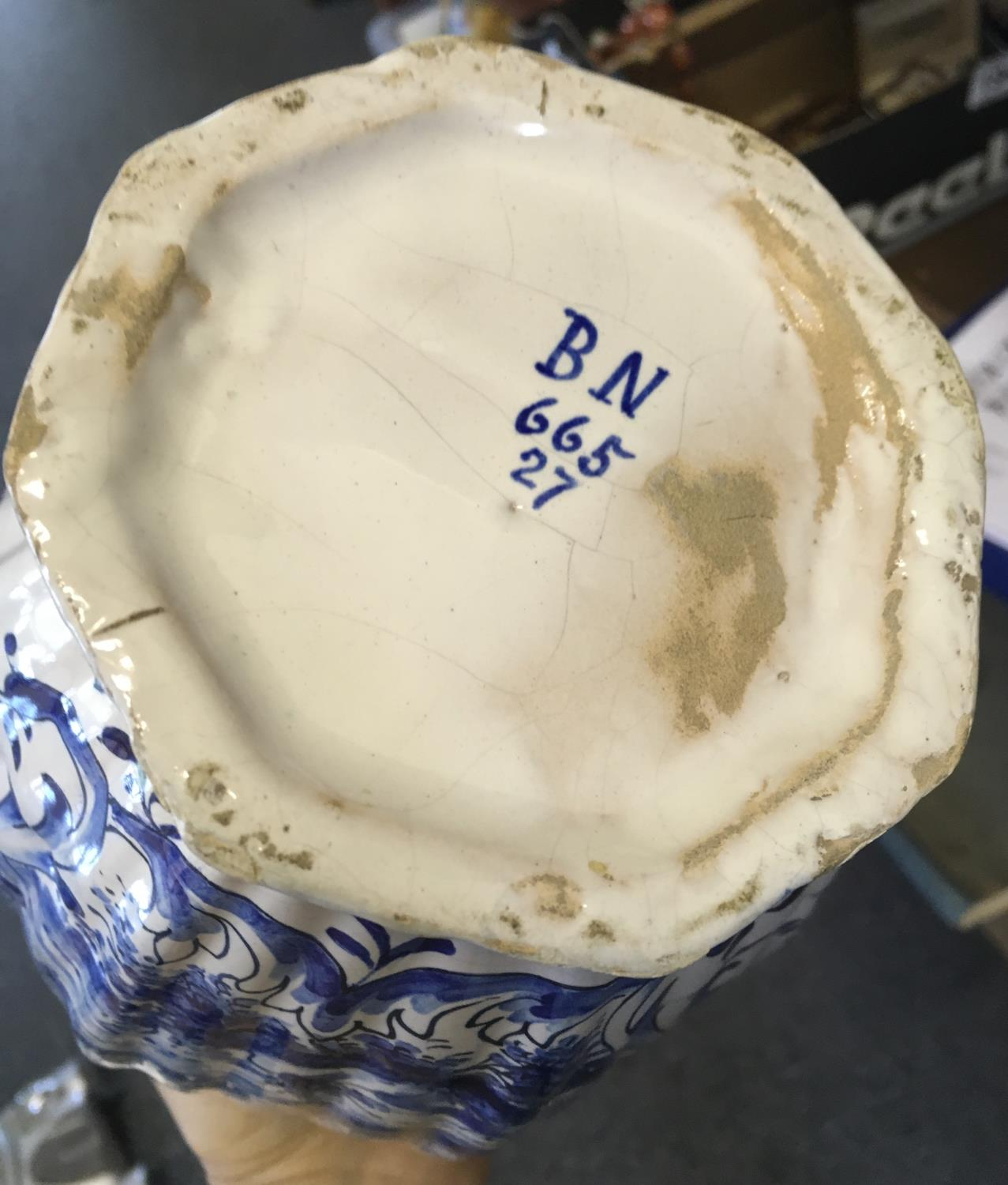"""Large blue and white Delft vase and lid, 14"""" tall marked to the base BN and No:665-27 hand painted - Image 5 of 6"""
