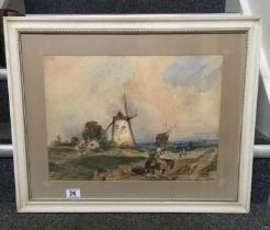 """Panoramic Dutch landscape watercolour signed button left 1990's with figures and windmill 14"""" x """""""