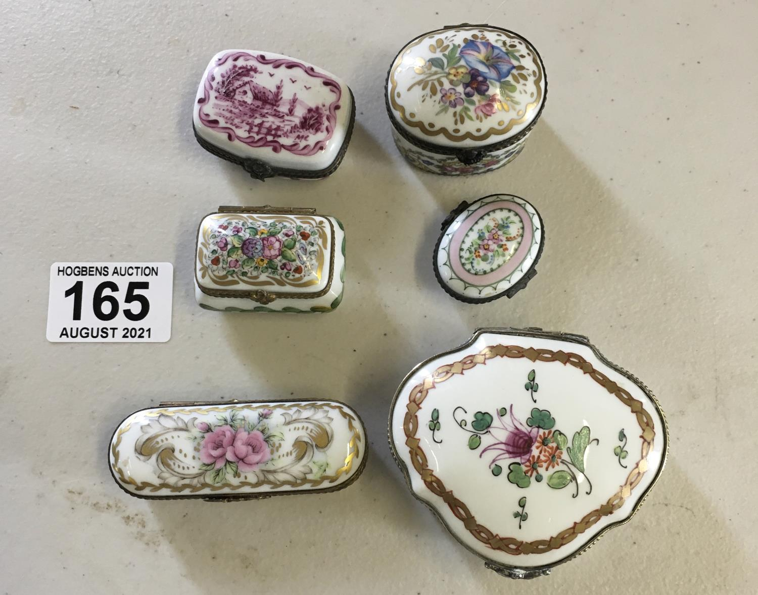Collection of 6 x Limoges hand painted pill pots and lids, porcelain - Image 2 of 2