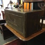 Green lacquered Camphor Wood Chinese chest, blanket chest with carved decoration to the top, and