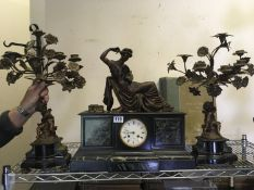 Classical design French late 19th Century 3 item marble and spelter garniture set, a centre clock