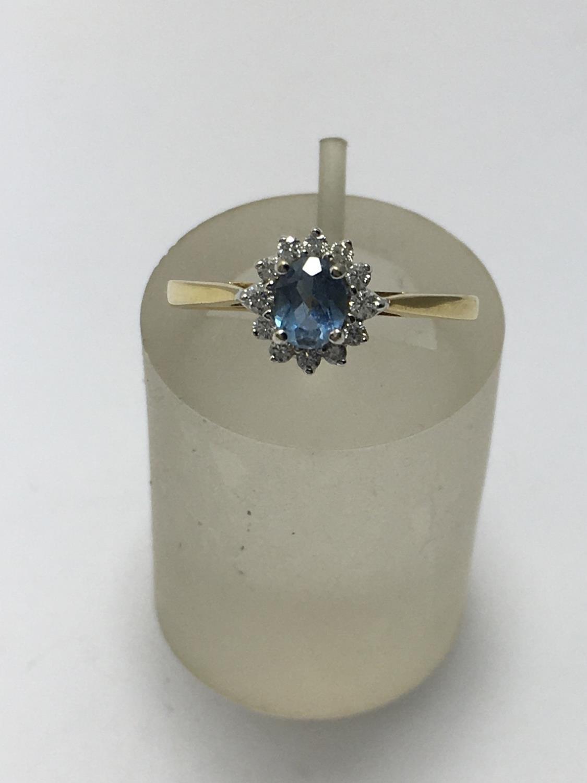 Ladies 9ct gold Aquamarine and diamond ring size L 2.3 grams, 45