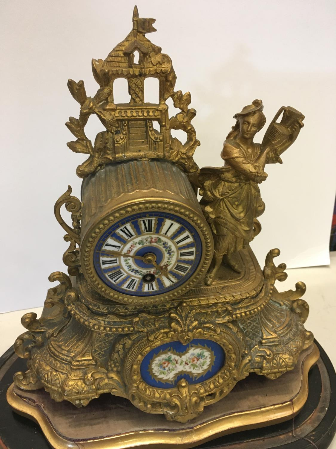 Gilt spelter mantle clock with figural Lady to the side, probably with Sevres plaques on original - Image 3 of 4