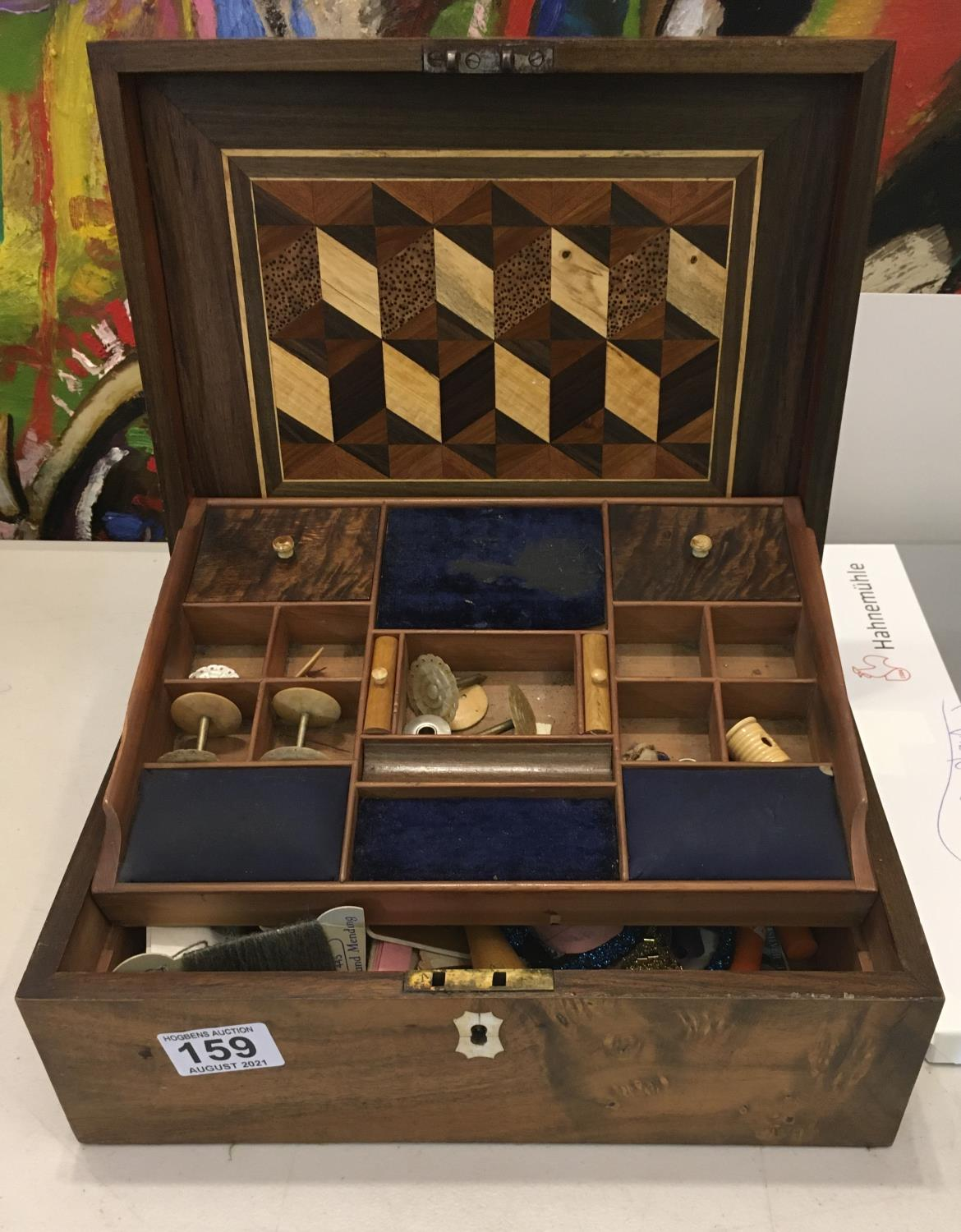 19c flame mahogany sewing box with contents with single tier compartment holder,