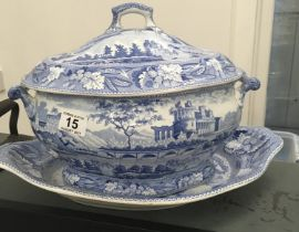 Minton Italian ruins c1820 pattern soup tureen lid and platter , each one decorated pattern of