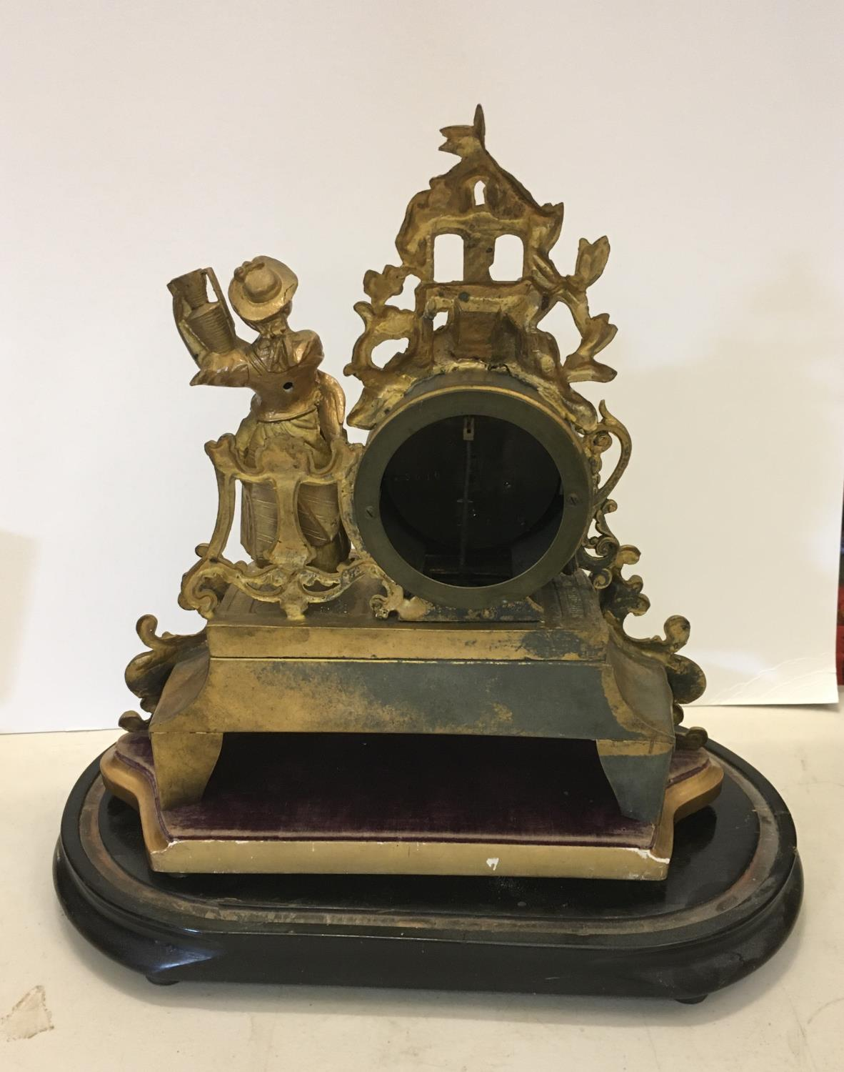 Gilt spelter mantle clock with figural Lady to the side, probably with Sevres plaques on original - Image 4 of 4