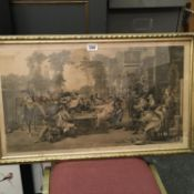 Gilt framed black and white engraving after David Willkie, Chelsea Pensioners discussing The