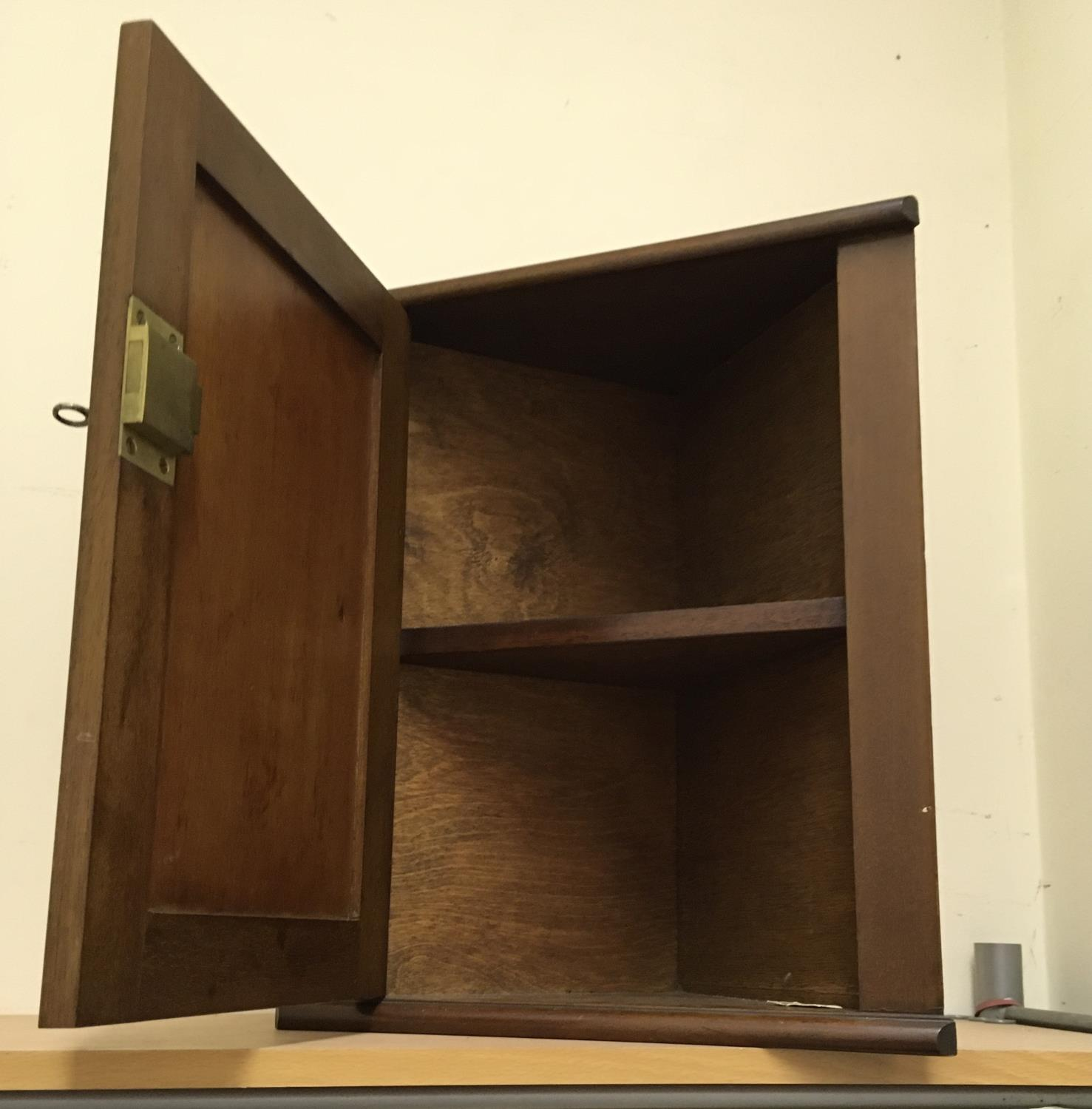 """Edwardian period medicine cupboard, wall hanging with a single shelf enclosed 16"""" tall 14"""" wide - Image 2 of 2"""