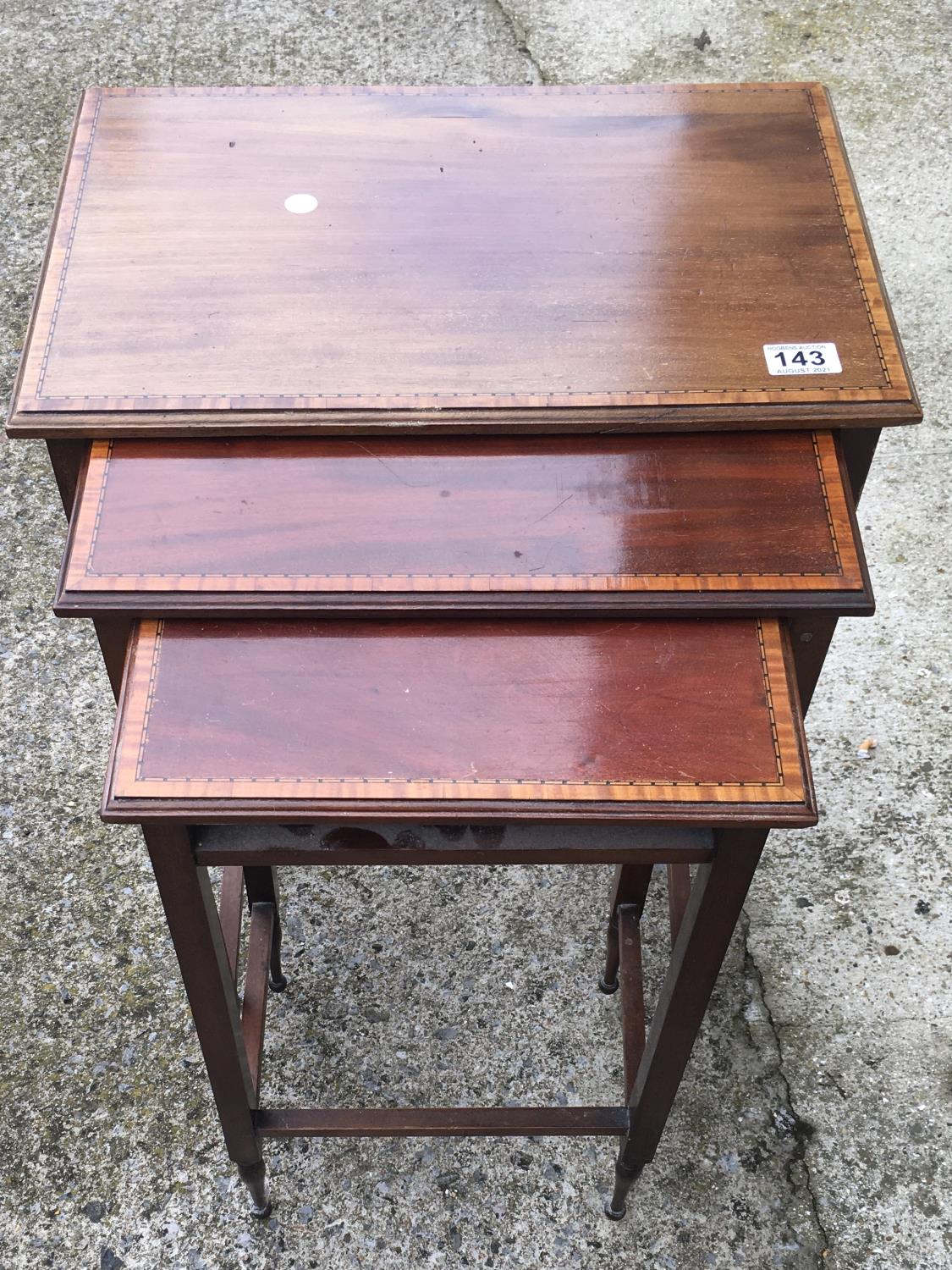 Nest of 3 x Edwardian period tables, with satinwood banding