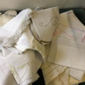 Amount of cotton, linen items inclduing embroidery, large amount, place mats, runners, table