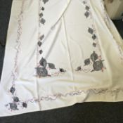 1950's embroidered table cloth created with stylised pheasants and birds 5' x 4'
