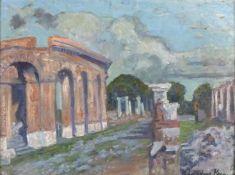 Elizabeth Lamorna KERR (British 1904-1990)Ostia Antica - Rome, Oil on board, Signed lower right,