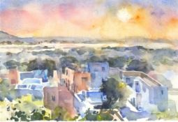 """Paul HOARE (British b. 1952)Indian Sunset, Watercolour, Signed lower right, 9.5"""" x 13"""" (24cm x"""