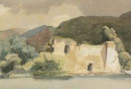 "20th CenturyRuin and Trees beside a Lake, Watercolour, 11.5"" x 16.5"" (29cm x 42cm)"