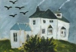 Joan GILLCHREST (British 1918-2008) Somewhere in Cornwall - white cottage with choughs, Oil on