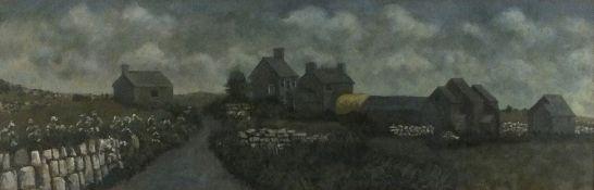 "Patricia FISHWICK (British b. 1929)Rosemergy Farm, Oil on board, titled on label verso, 8"" x 28"" ("