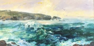 Agnes HAWKINS (British 1910-2001) Treyarnon, North Cornwall, Oil on board, Signed lower left,