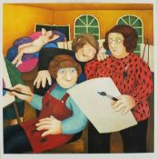 Beryl COOK (British 1926-2008)'The Art Class', Colour Print, Signed in pencil with blindstamp,