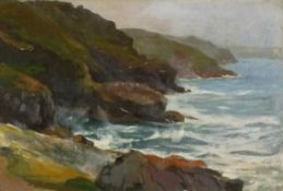 E WRIGHT (British 19th/20th Century)From Gurnards Head - Cornwall, Oil on board, Signed and
