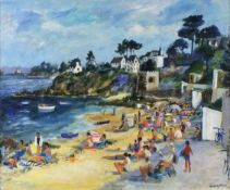 Jeremy KING (British b. 1933)Sable Blanche, Carantec - summer beach scene, Oil on board, Signed and