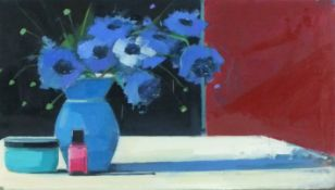 Myles OXENFORD (British b. 1977)Cornflowers and Nail Polish, Oil on board, Signed, titled and dated