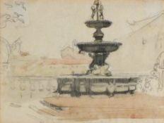 "Alethea GARSTIN (British 1894-1978)Public Fountain - Italy, Pencil and wash, 8"" x 10.25"" (20cm x"