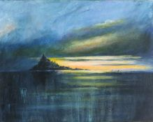 Lyn NORMAN (British b. 1947)Sunset St Michael's Mount, Acrylic on canvas, Signed with initials