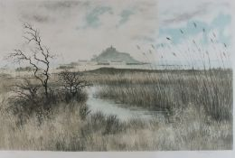 Jeremy KING (British b. 1933)Marazion Marshes with St Michael's Mount, Lithograph with colours,