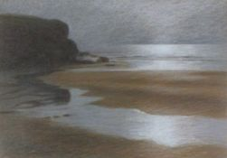 Valerie K WRIGHT (British 20th/21st Century)Beach at Trenance, Crayon, Signed lower left, label