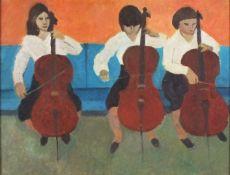 """Horas KENNEDY (British 1917-1997)Three Cellists, Oil on board, 11.5"""" x 15"""" (29cm x 38cm)"""