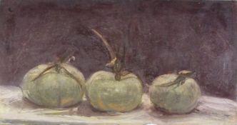 Rosalind EASTMAN (British b. 1946)Three Crown Prince Pumpkins, Oil on canvas laid down, Signed,