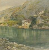 Fredrick William STURGE (19th/20th Century) Villa on an Italian Lake, Watercolour, Signed lower