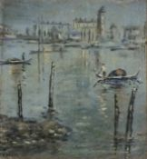 Victor MATHIAS (19th/20th Century)Lagoon Venice, Oil on card, Signed lower left, signed and dated